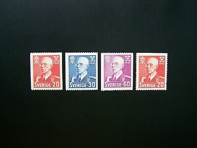 Sweden Stamps 1943 Year Complete Set, Scott # 338-341. Mlh