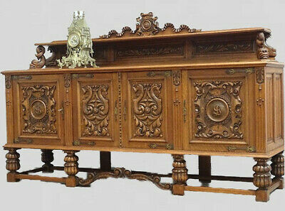 Antique French Renaissance Sideboard Console Cabinet TV Stand in Oak c 1920