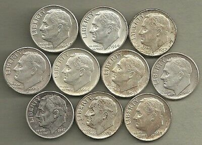 Roosevelt Dimes - US 90% Silver Coin Lot - 10 Circulated Coins #3966