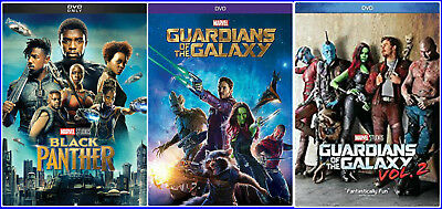 Black Panther + Guardians of the Galaxy Vol. 1 & 2 DVD New Bundle Marvel Movies