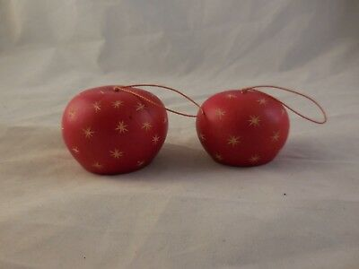 2 Wooden Apples Red Balls with Stars Christmas Ornament