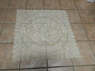 Antique Ecru  Lace Tablecloth Topr With Animals