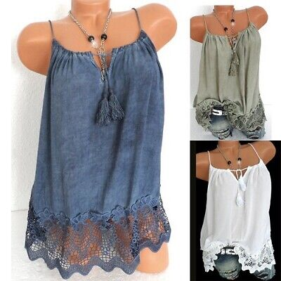 68b80969a33c9c Women Lace Crochet Vest Sleeveless Loose Camisole O-Neck Tank Tops Blouse  Shirt