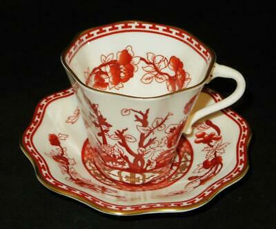 Coalport INDIAN TREE Coral Scalloped Coffee or Tea Cup & Saucer Set
