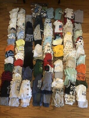 HUGE LOT Baby Boy Clothes~0-3 M~Sleepers, Outfits~Over 100 Pieces!!