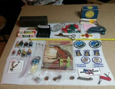 Vintage Junk Drawer Lot, Patches, Pins, Cheese Box, Pocketknife, Etc.