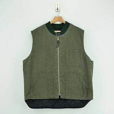 Vintage Work King Gilet Duck Canvas Waistcoat Quilt Lined Vest Made in Canada XL