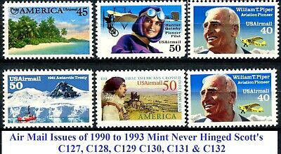 Air Mail Issues of 1990 to 1993 Complete Set 6 MNH Stamps Scott's C127 to C132