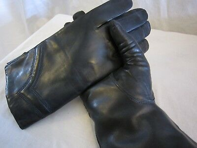 Hungarian Woman Nappa Lambskin Leather Gloves, Made in Hungary, BLACK-F614