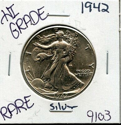 1942 Liberty Walking Silver Half Dollar Hi Grade U.s. Mint Rare Coin 9103