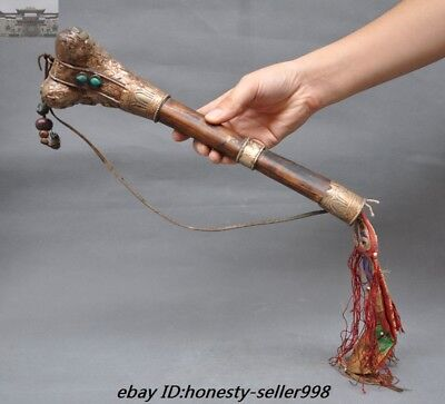 """13"""" Collect Rare Tibet Silver inlay Old Cattle Bone Ritual Kangling Trumpet Horn"""