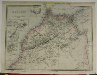 Morocco 1873 James Wyld Unusual Antique Original Colored Lithographic Map