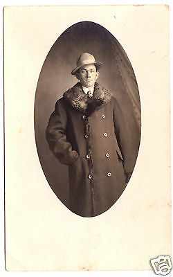 RPPC: Dandy in Fur-Lined Coat with Ample Fur Collar, Hat/ Circa early 1910s