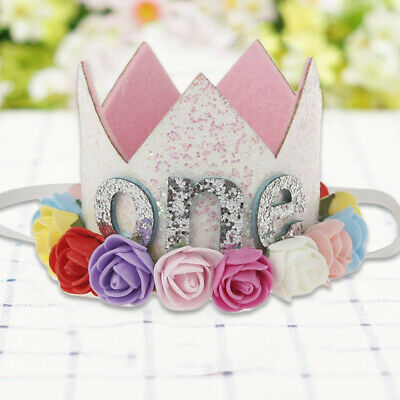Birthday Crown Flower Tiara Headband for Baby Party Hair Bands Accessory new