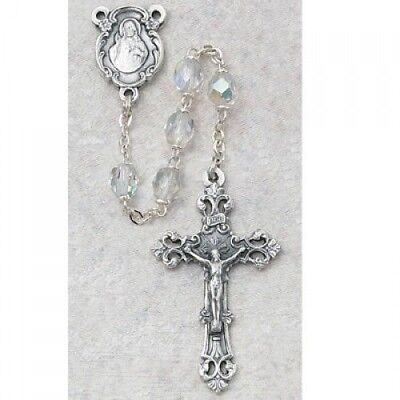 IVL April Crystal 6MM Fire Polished Aurora Glass Bead Silver Oxidized Rosary