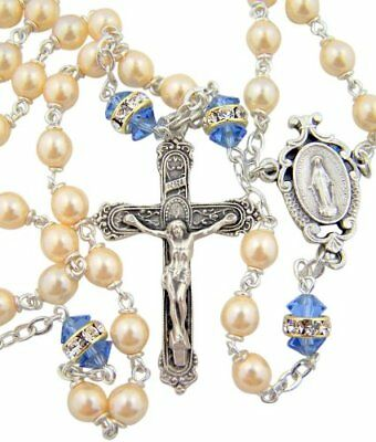 Miraculous Medal Centerpiece Sapphire Color Bohemian Crystal Prayer Beads Rosary
