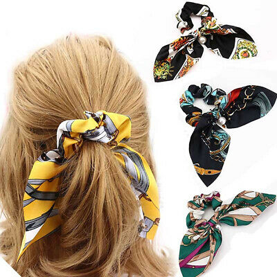 Girl Fine Scarf  Tiara Satin Ribbon Bow Hair Band Rope Ponytail Holder belt
