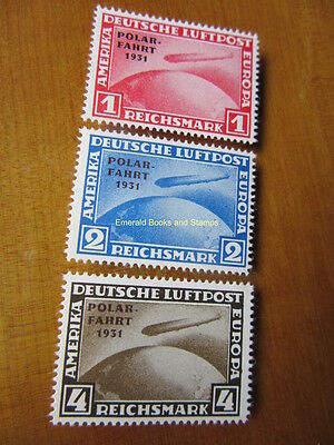 EBS Germany 1931 Zeppelin Polar Flight Polarfahrt set Michel 456-458 REPRINTS