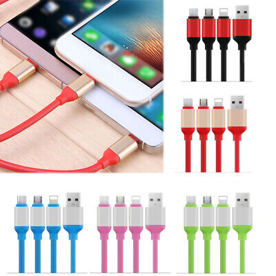 3 in 1 Multi USB Charger Charging Cable Cord For iPhone Type-C Android Micro USB