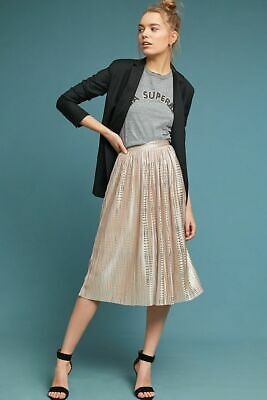 572c5c60a Nwt Anthropologie Sabina Musayev Cassia Pleated Foil Shine Midi Skirt Nude  2 Xs