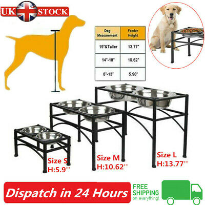 S/M/L Double Elevated Raised Dog Pet Puppy Feeder Bowl Food Water Stand Tray