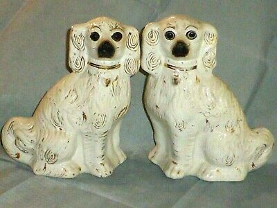 Charming Pair of Antique Victorian Staffordshire Spaniel Dogs, c1860
