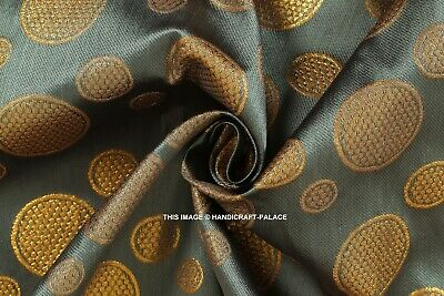 Grey Gold Floral Woven Metallic Brocade Traditional Fabric Material 125cm wide