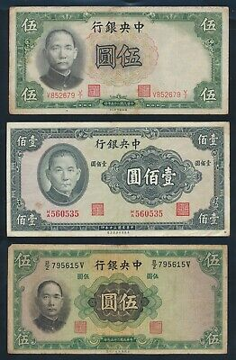 "China: CENTRAL BANK 1930-41 ""COLLECTION OF 6 DIFFERENT NOTES"". Pick 202-327d"