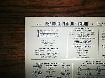 1967 Dodge Plymouth Valiant EIGHT Series Models 273 CI V8 4BBL CAP Tune Up Chart