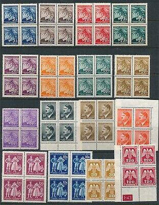 Lot Stamp Germany Bohemia Blocks WWII Nazi Era Hitler Leaves Linden Official MNH