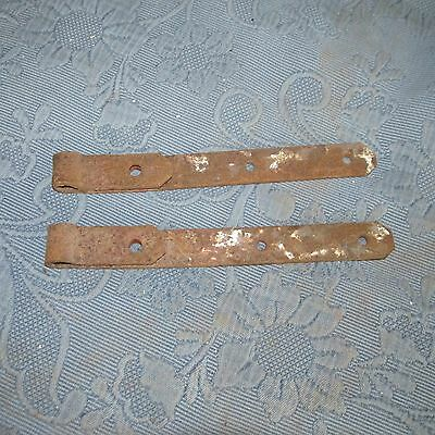Pair of Antique Iron Gate or Barn Strap Hinges, 11 Inch
