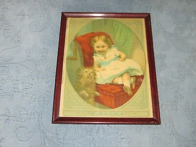 Antique Picture Frame,Girl,Dog, I Can See You Papa Print,True & Co,Augusta Maine