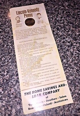 1974 Lincoln Kennedy Commemorative Coincidences Memorial Penny Home Savings