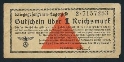 "Germany: P.O.W. CAMPS WWII 1939-44 1 Reichsmark Prefix ""2"". Campbell 3754b NVF"