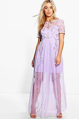 edbc24650afcd Boohoo Plus Elin Boutique Embellished Maxi Dress Lilac Size UK 16 LF088 BB  09