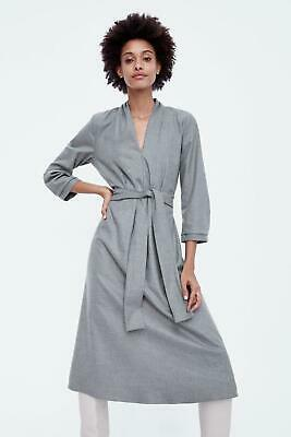 a52253c7c57  ZARA  Pleated Gray Midi Dress Tie Belt Waist EuC Womens Small Puff sleeve  Soft