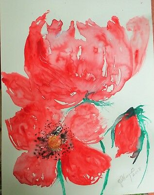 Watercolour Painting of Red Poppies,Impressionist,Painted With Feather,original