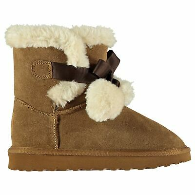 SoulCal Carmel Snug Boots Infants Girls Faux Fur Pull On Leather Upper Bow Warm