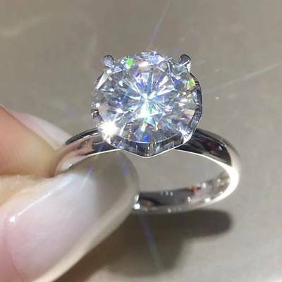 2Ct Round Brilliant Cut Diamond Solitaire Engagement Ring 14K White Gold Finish