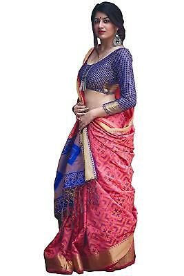 Women's Patola Pink And Blue Silk Saree With Blouse PC1_6