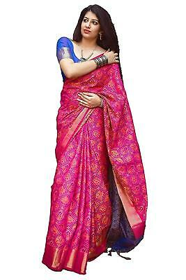Women's Pink And blue Patola Silk Saree with Blouse Piece parent_pink&blue