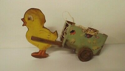 New Wooden Vintage Look Easter Chick Pulling Cart X44345