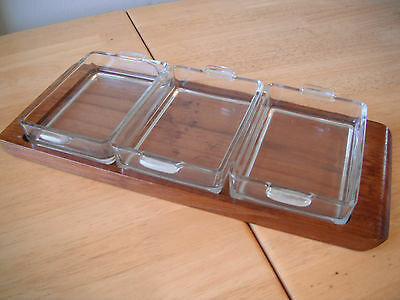 Laurids Lonborg Denmark - Wood Tray and 3 Glass Dishes - 1960's