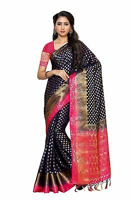 Women's Silk Saree With Blouse Piece (228-2D-Nvy-Rni,Navy Blue,Free Size)