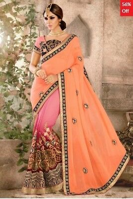 Peach and Pink Georgette Saree with Embroidered Blouse Piece ADM-SR-MK-6040
