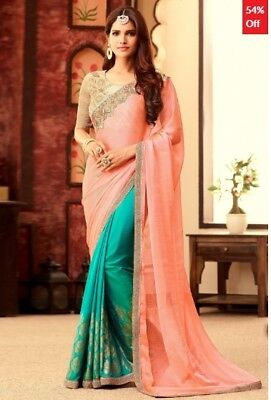 Peach and Turquoise Silk Chiffon Saree with Embroidered Blouse Piece JD-SR-SWD-S
