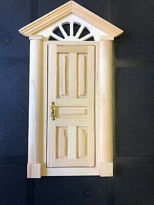 Wooden Skylight Front Door 1:12 Scale, Dolls House Miniature, Slight Damage