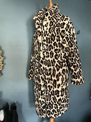 ANOTHER EIGHT Womens Brown Leopard Print Fluffy Teddy Coat Size L UK14 LOng