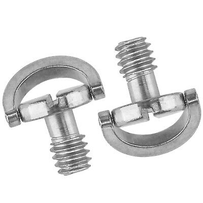"""2pcs  Steel D-Ring 1/4"""" Mounting Screw Thread Support For Camera Tripod Use"""