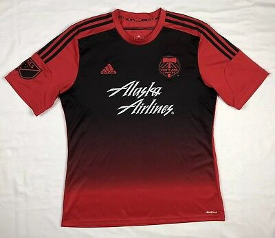 newest 103c5 cd301 ADIDAS PORTLAND TIMBERS Mens Red/Black S/S Mls Soccer Jersey Sz Large A1